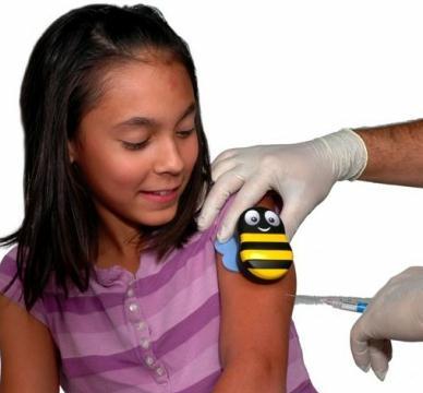 abelhinha de plastico alivia dor injeção