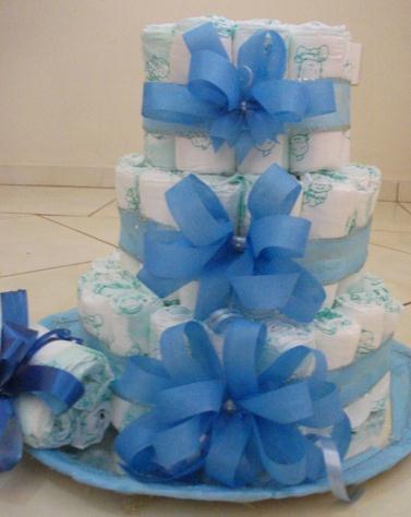 bolo de fraldas decoração chá de fraldas